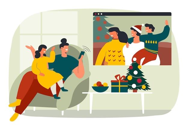 크리스마스 가족 videocall 무료 벡터