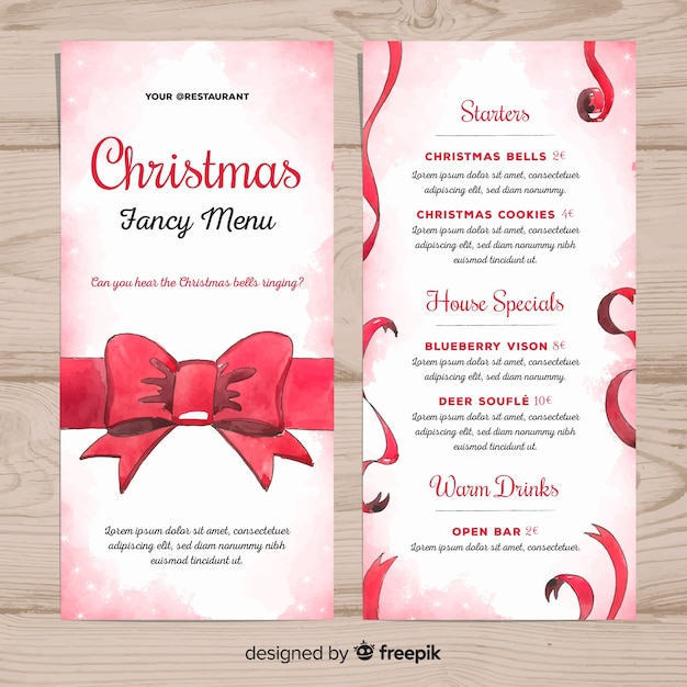 christmas fancy menu template vector free download
