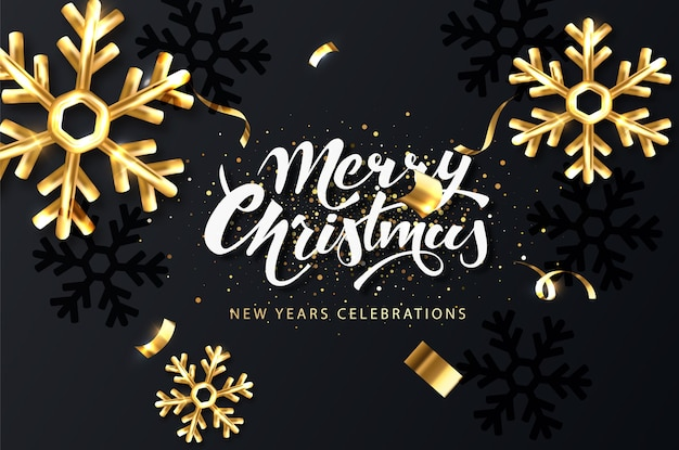 Christmas festive card. dark christmas background with golden snowflakes, shining sparkles and confetti Premium Vector
