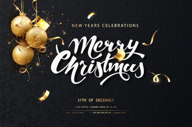 クリスマスのお祝いのダークカード。金色のボール、花輪、輝きと新年のライトと暗いクリスマスの背景 無料ベクター