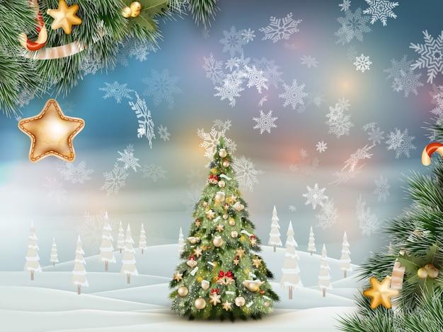 Рождественская ель на зимний пейзаж. Premium векторы