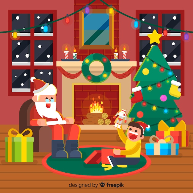 Christmas fireplace background santa with kid Free Vector