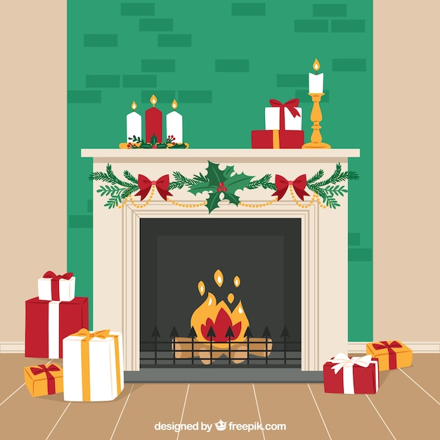 Christmas Fireplace.Christmas Fireplace Background Vector Free Download