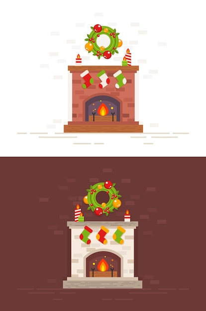 Christmas fireplace isolated illustration in flat style Premium Vector