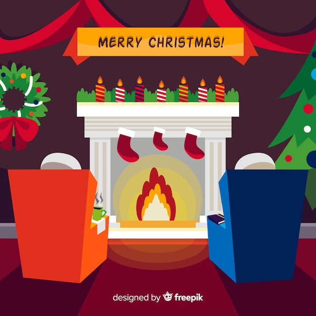 Christmas fireplace scene background Free Vector