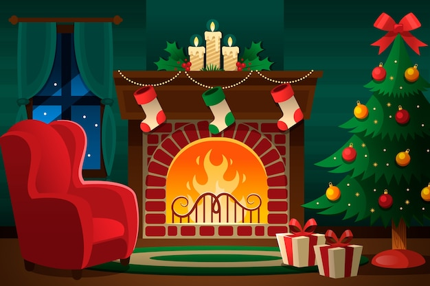 Christmas fireplace scene concept in flat design Free Vector