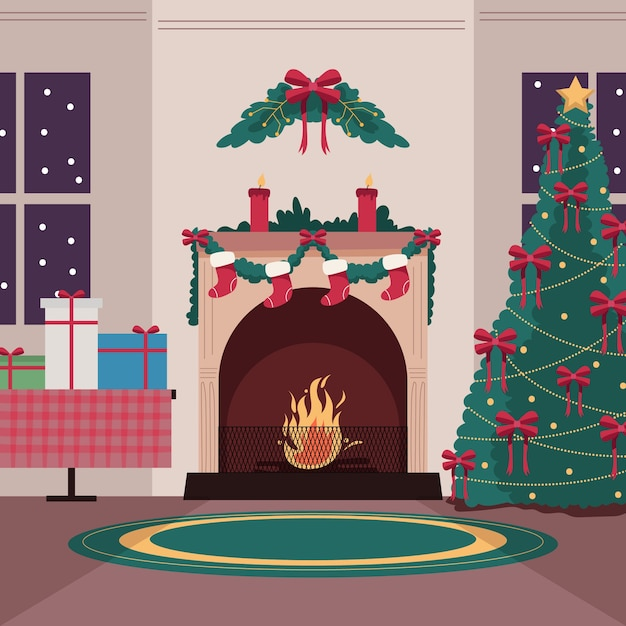 Christmas fireplace scene concept in hand drawn Free Vector