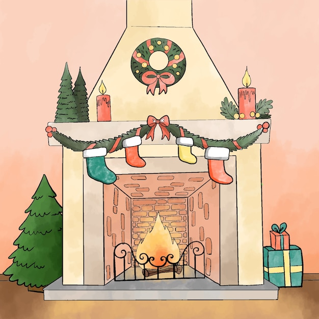 Christmas fireplace scene concept in watercolor Free Vector