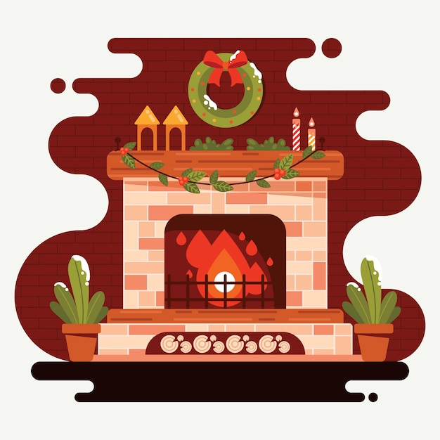 Christmas fireplace scene in flat design Free Vector