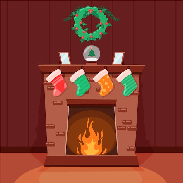 Christmas fireplace scene in hand drawn Free Vector