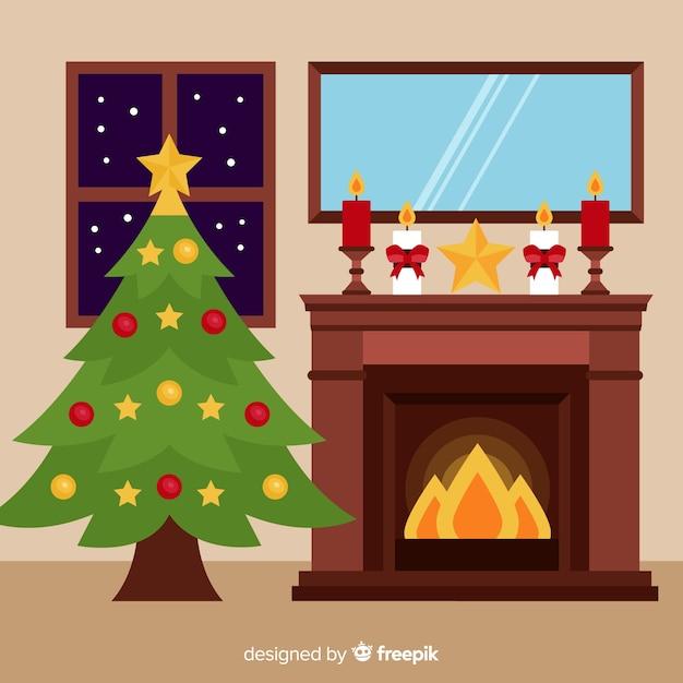 Christmas fireplace scene Free Vector