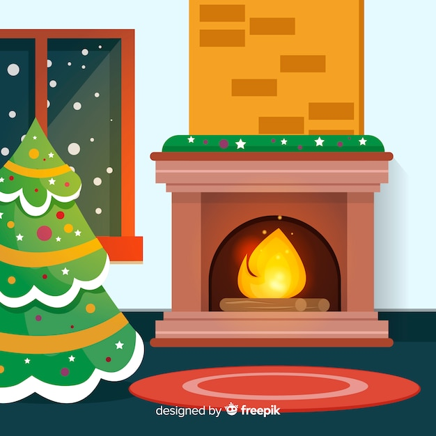 Christmas fireplace scene Vector | Free Download