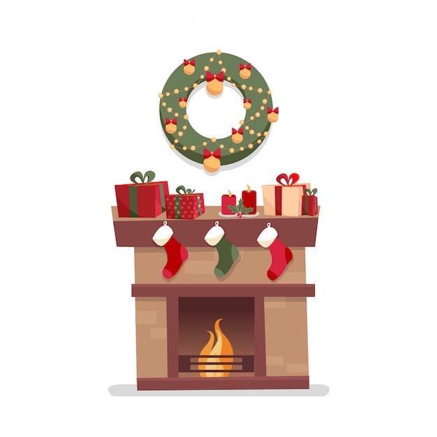 装飾、ギフトボックス、ろうそく、靴下、花輪のクリスマス暖炉。 Premiumベクター