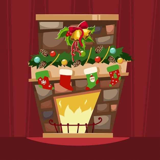 Premium Vector Christmas Fireplace With A Mantle Stockings For Gifts And Holly Berry Leaves With A Bell Cartoon Of Xmas Festive Decorations