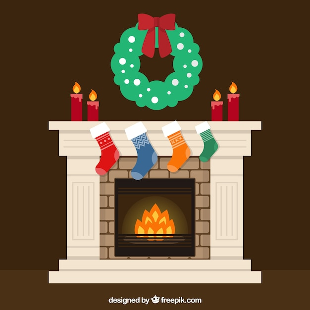 Christmas Fireplace Scene Clipart.Christmas Fireplace Vector Free Download