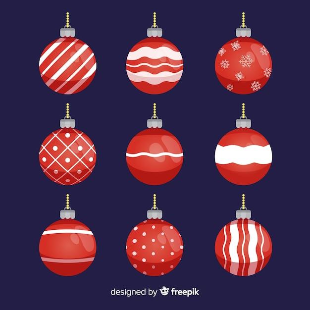 Christmas flat balls collection Free Vector