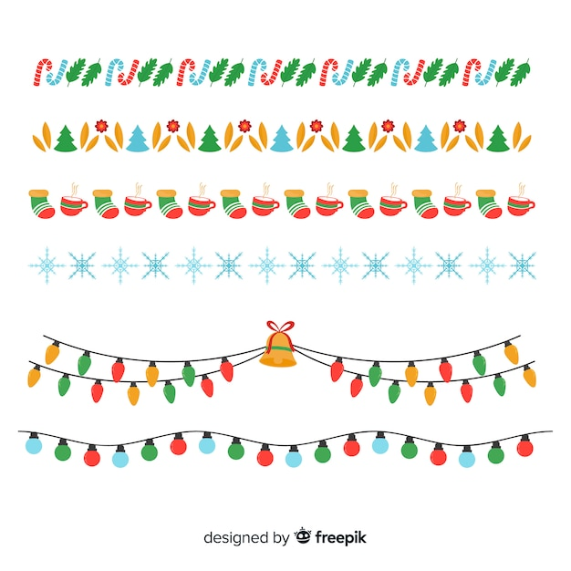 Christmas flat borders collection Free Vector