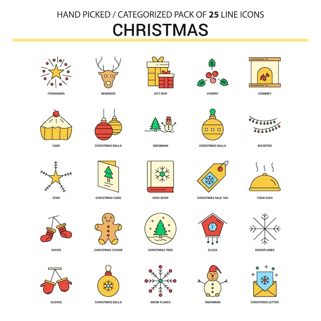 Christmas flat line icon set Free Vector