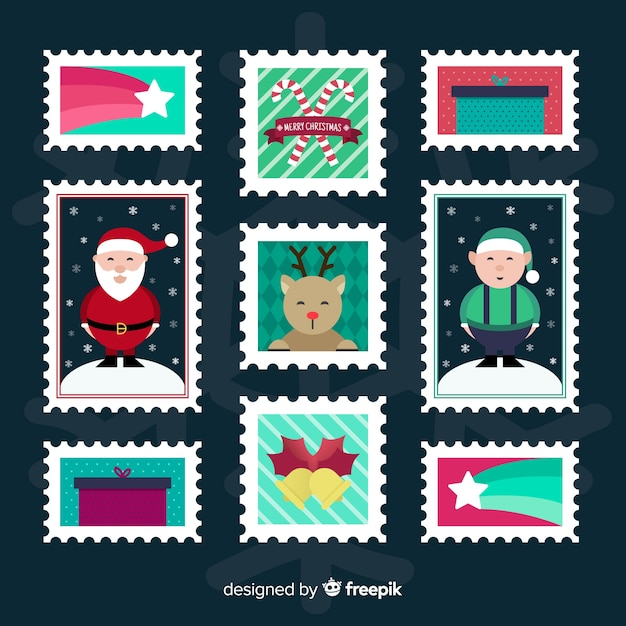 Christmas flat stamp collection Free Vector