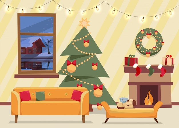 Christmas flat vector of decorated living room. cozy home interior with furniture, sofa, window to winter evening landscape, christmas tree with gifts, garland, fireplace Premium Vector