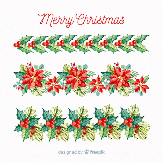Christmas floral border collection Free Vector