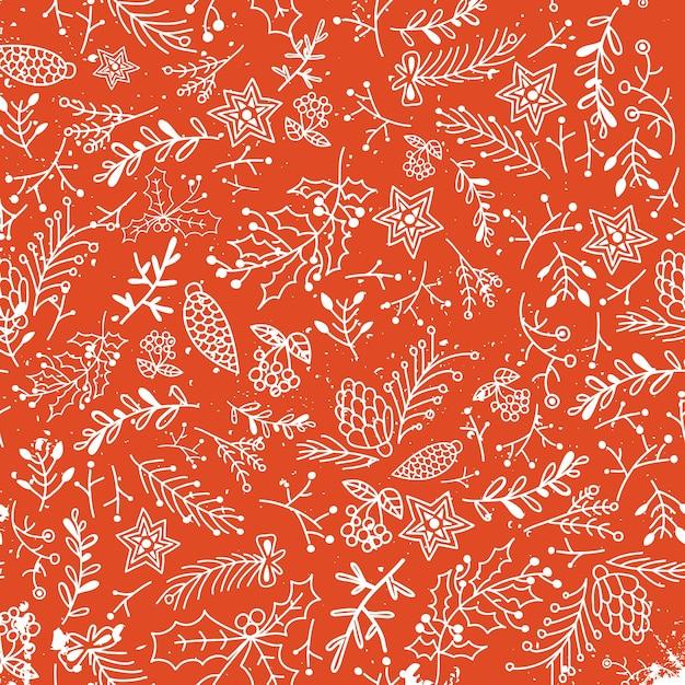 クリスマスの花の手描きのシームレスなパターン 無料ベクター