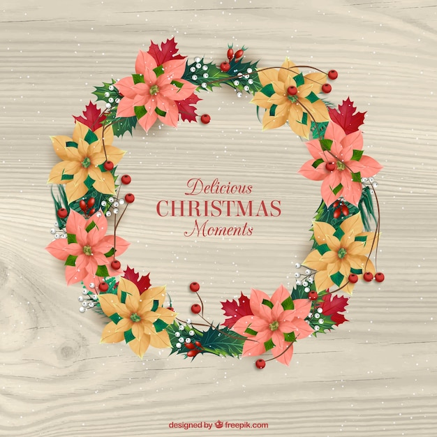 Christmas floral wreath background with nice message