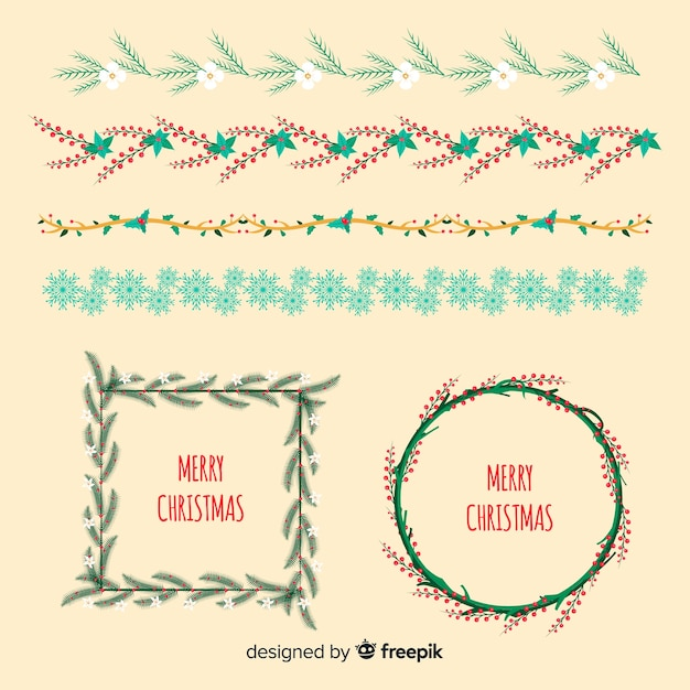 Christmas floral wreaths and borders Free Vector