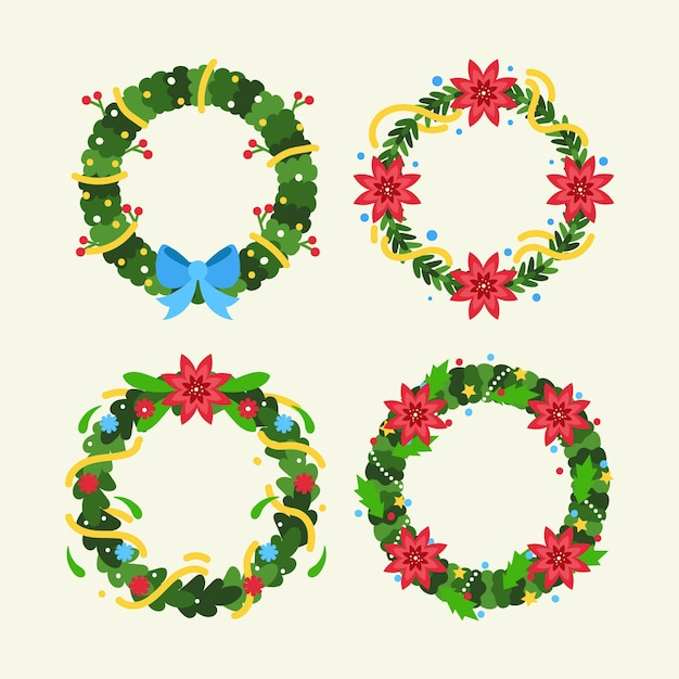 Christmas flower & wreath collection in flat design Free Vector
