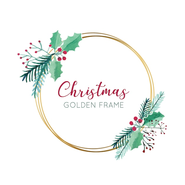 Christmas flowers with gold frame Free Vector