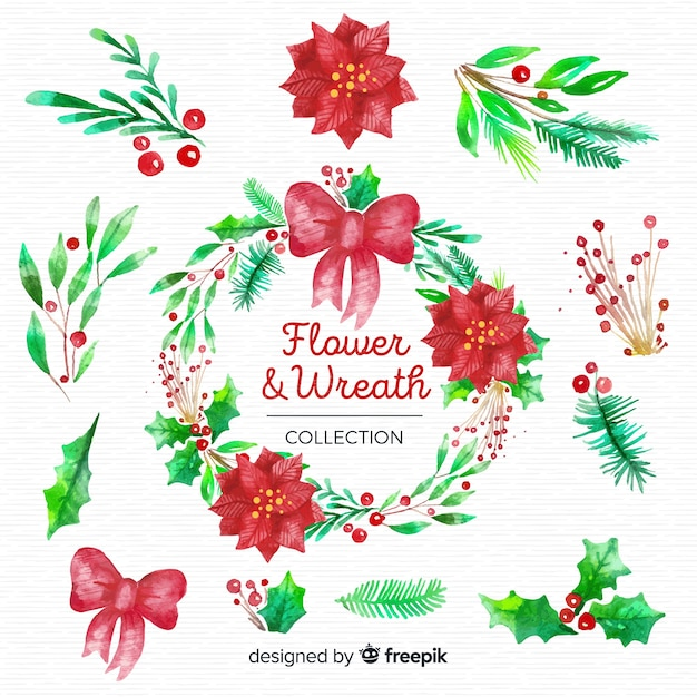 Christmas flowers and wreaths set Free Vector