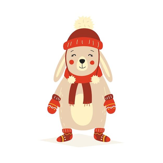 Рождественский пушистый белый стоящий кролик в красной шапке, варежках и валенках. векторная иллюстрация на белом фоне изолированных. Premium векторы