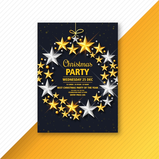 Christmas flyer with glowing stars template Free Vector
