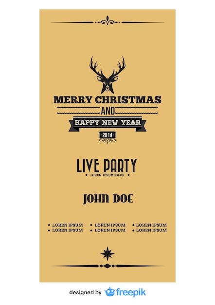 Christmas flyer with a reindeer on the top Free Vector