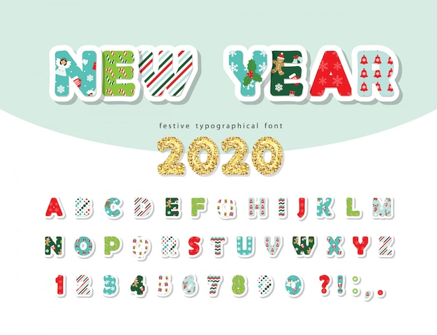 Christmas Letter 2020 Christmas font. new year 2020. alphabet with letters and numbers