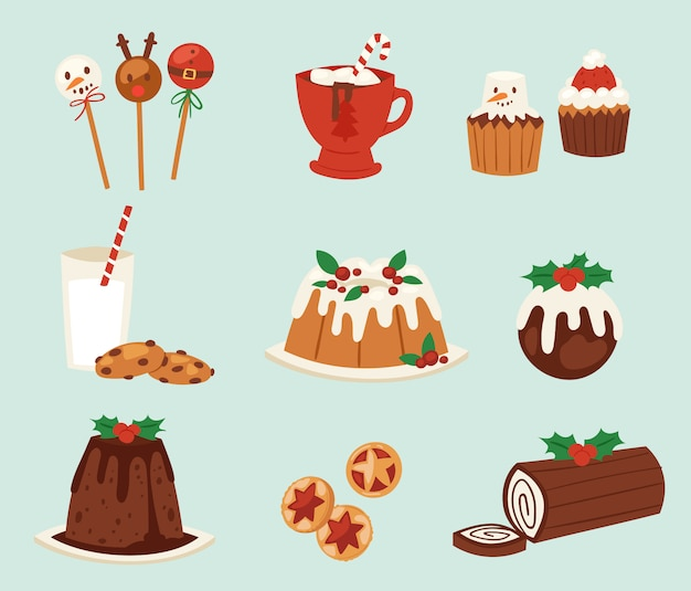 Christmas food  desserts holiday decoration xmas family diner sweet celebration meal illustration. traditional festive winter cake homemade x-mas party Premium Vector