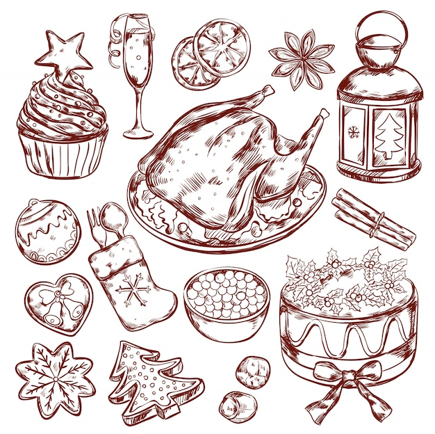 Schizzo del menu del cibo di natale Vettore gratuito