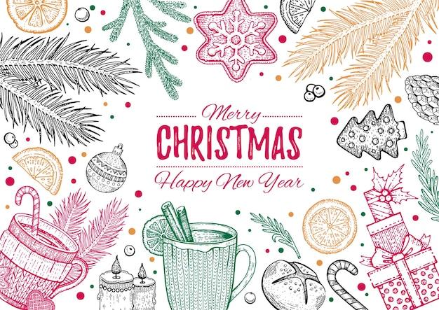 Christmas food menu Premium Vector