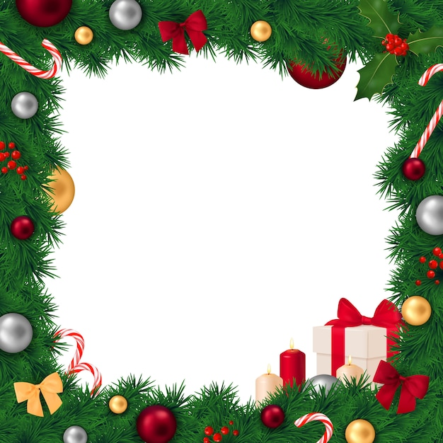 Christmas frame realistic composition Free Vector