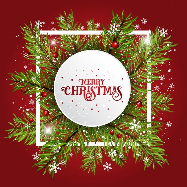 Christmas frame, red background Free Vector