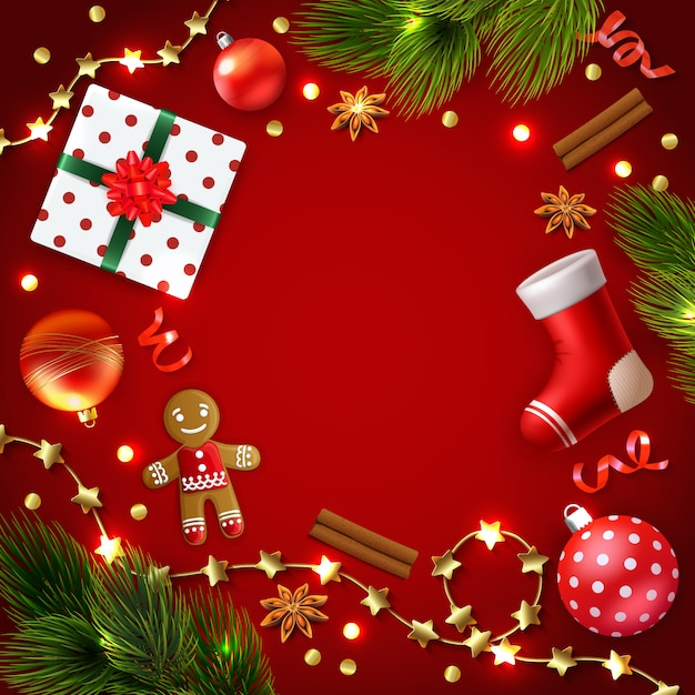 Christmas frame surrounded by accessories decorations lights and gifts Free Vector