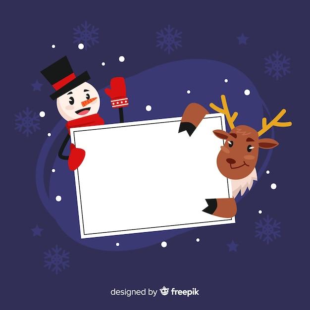 Christmas frame template with santa Free Vector