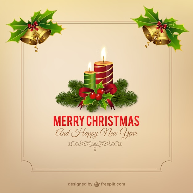 Christmas Frame With Candles Free Vector