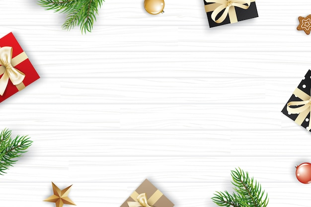 Christmas frame with copy copyspace on white wooden background. Premium Vector