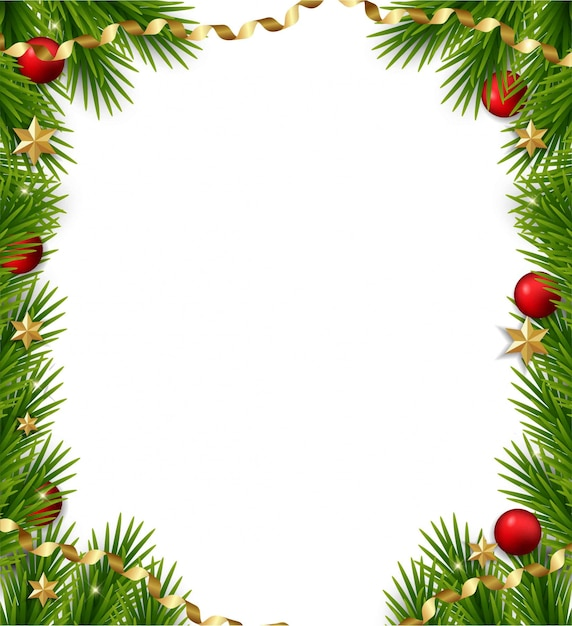 Christmas frame with  fir branches Premium Vector