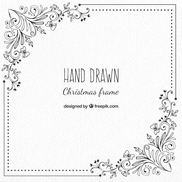 Christmas Frame With Hand Drawn Floral Details Vector