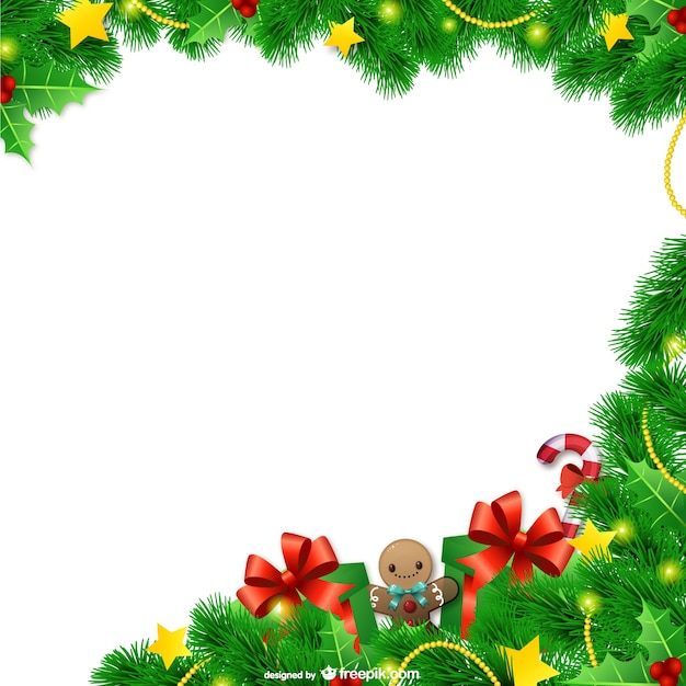 Christmas frame with leaves Vector | Free Download