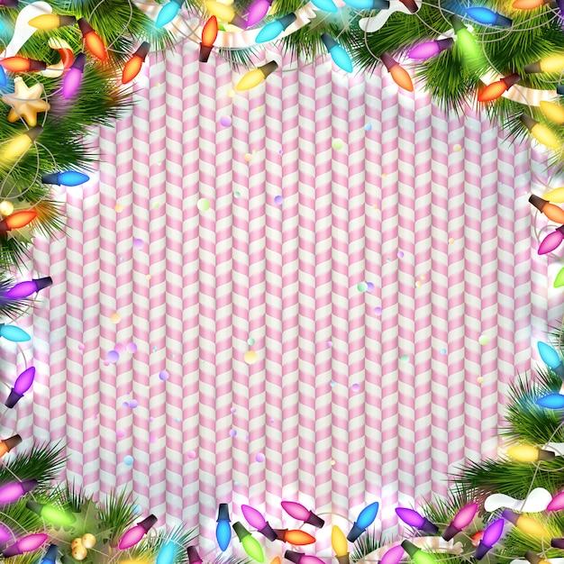 光の花輪のクリスマスフレーム Premiumベクター