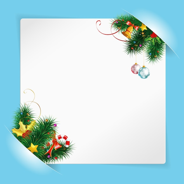 Christmas frame with sheet of white paper mounted in pockets Premium Vector
