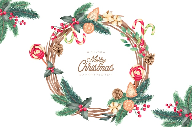 Christmas frame with watercolor ornaments Free Vector